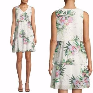 DONNA RICCO Floral TIERED RUFFLE Clipped Dot DRESS